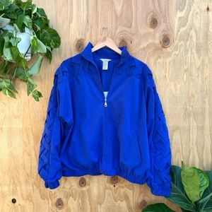Vintage Blue Woven Zip Up Windbreaker